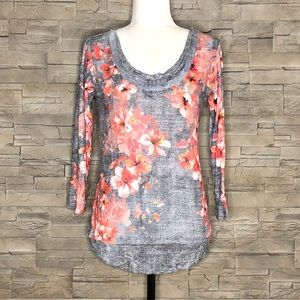 David Cline grey and coral floral t-shirt